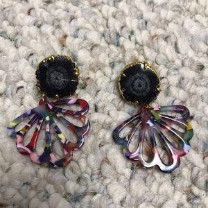 Multicolored rock earrings